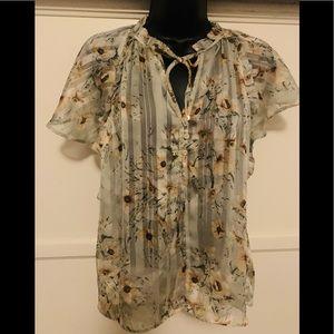H&M Sheer Floral Top, Sz 6